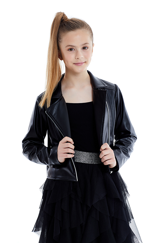 8/12 Years Girl Suit Eith Black Leather Jacket And Tulle Skirt