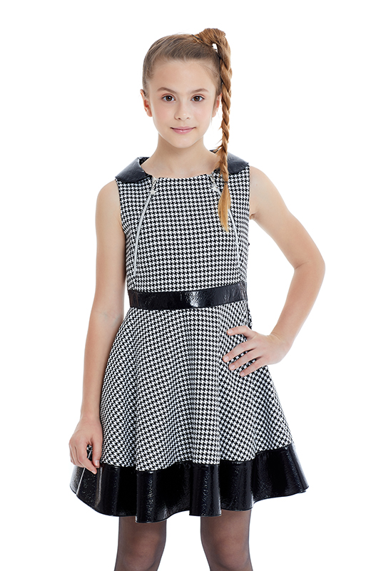 8/12 Years Girl Houndstooth Patterned Black Dress