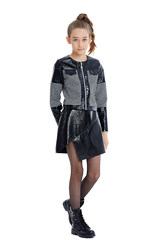 8/12 Years Girl Suit With Black Jacket And Skirt