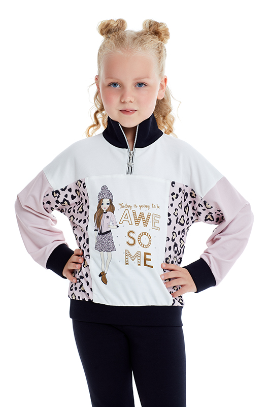 4/8 Years Girl Suit With Powder Sweatshirt And Tights