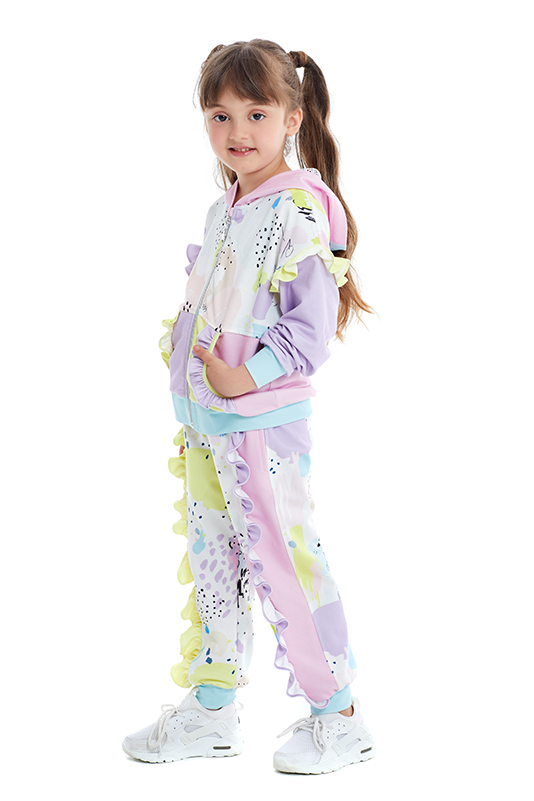1/5 Years Girl Colorful Lilac Tracksuit Set