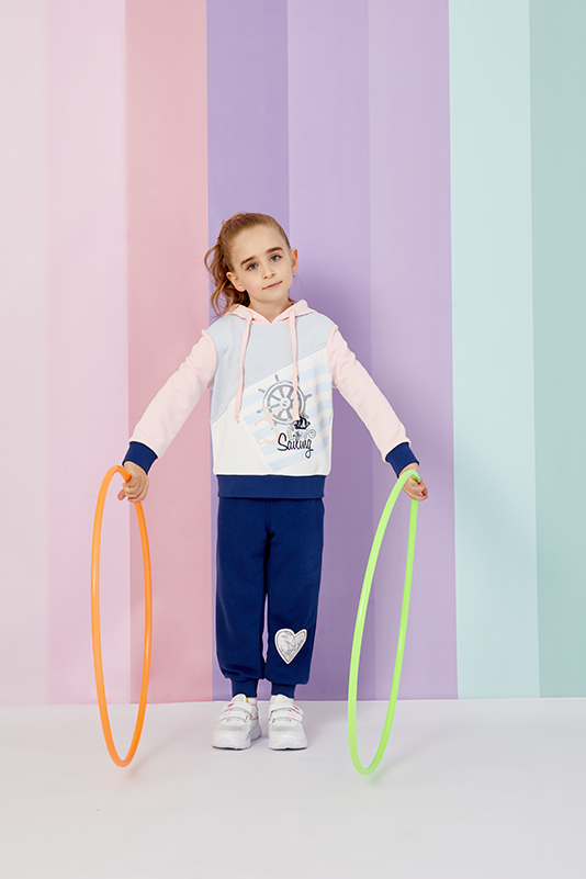 2/6 Years Girls' Long Sleeve Cotton Navy Tracksuit