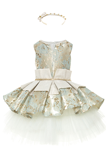 2/6 Years Girl Rose Pattern Jacquard With Tulle Skirt Mint Dress