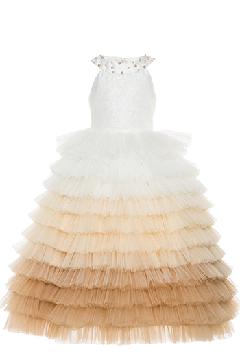 2/6 Years Girl Halter Collar Multilayer Tulle Skirt Lace Deatailed Beige Dress