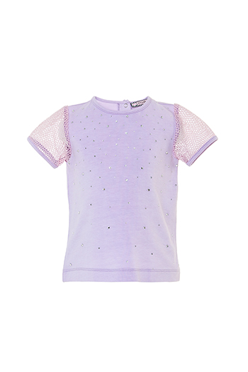 6/24 Months Baby Girl Net Fabric Sleeve Detailed Stone Printed Lilac T-Shirt