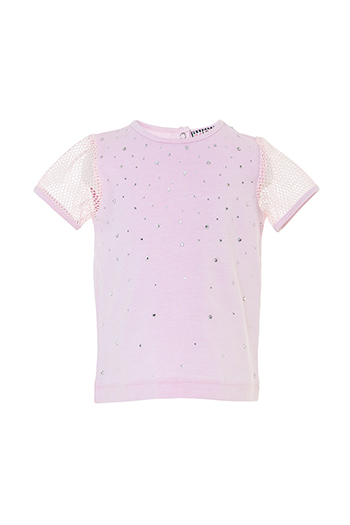 6/24 Months Baby Girl Net Fabric Sleeve Detailed Stone Printed Powder T-Shirt