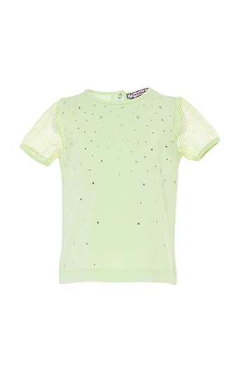 6/24 Months Baby Girl Net Fabric Sleeve Detailed Stone Printed Mint T-Shirt