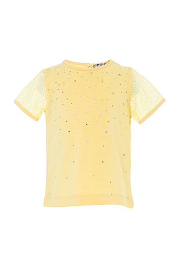 6/24 Months Baby Girl Net Fabric Sleeve Detailed Stone Printed Yellow T-Shirt