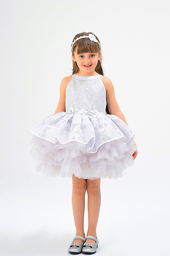 2/6 Years Girl Sequined And Jacquard Patterned Grey Dress