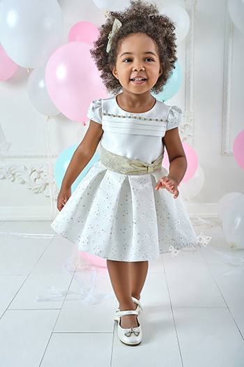 9/36 Months Baby Girl Daisy Patterned Ecru Dress With Waistband Detail