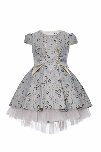 4/8 Years Girl Jacquard Patterned Bowknot Detailed Blue Dress With Tailed Skirt