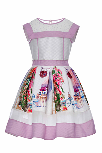 6/10 Years Girl Printed Quilted Fabric Lilac Dress With Organza Detail