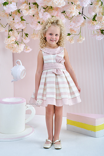 4/8 Years Girl Powder Dress With Striped Linen Fabric And Bowknot Detail