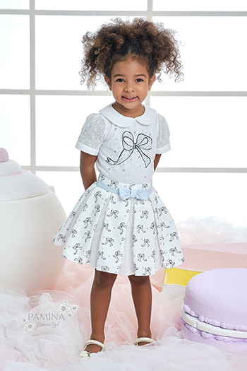 9/36 Months Baby Girl Tiny Bowknot Printed Brode Fabric Detailed Suit With Blue Skirt
