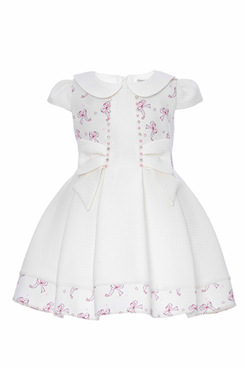 9/36 Months Baby Girl Tiny Bowknot Printed Powder Dress With Baby Collar