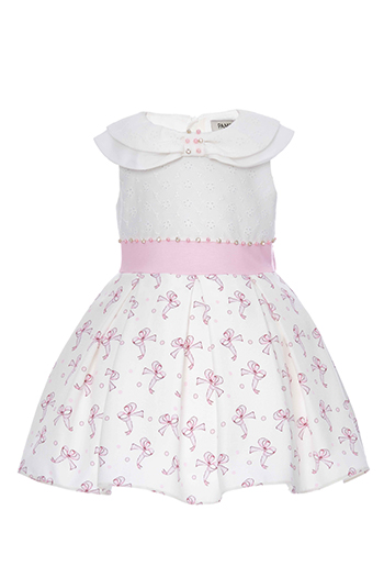 9/36 Months Baby Girl Tiny Bowknot Printed Powder Dress With Brode Fabric Detail