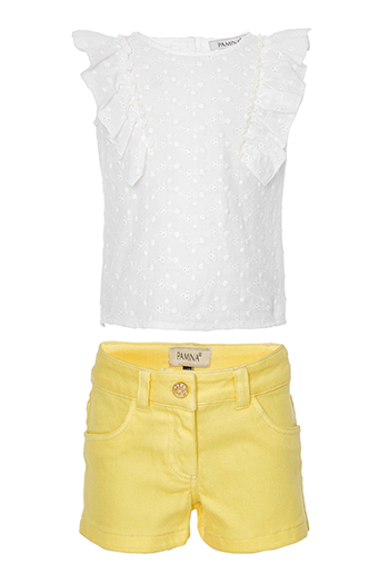 9/36 Months Baby Girl Suit With A Frill Detailed Brode Blouse And Denim Yellow Shorts