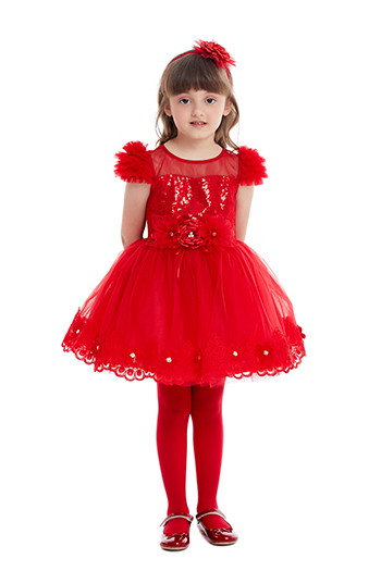 1/5 Years Girl's Tulle Red Dress
